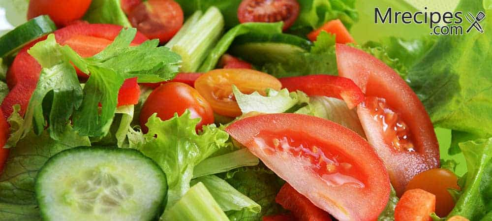 Cucumber tomato and lettuce salad