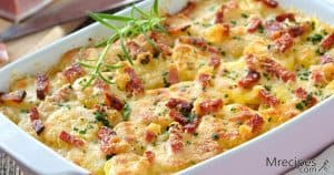 Smoked potato ham cheese casserole