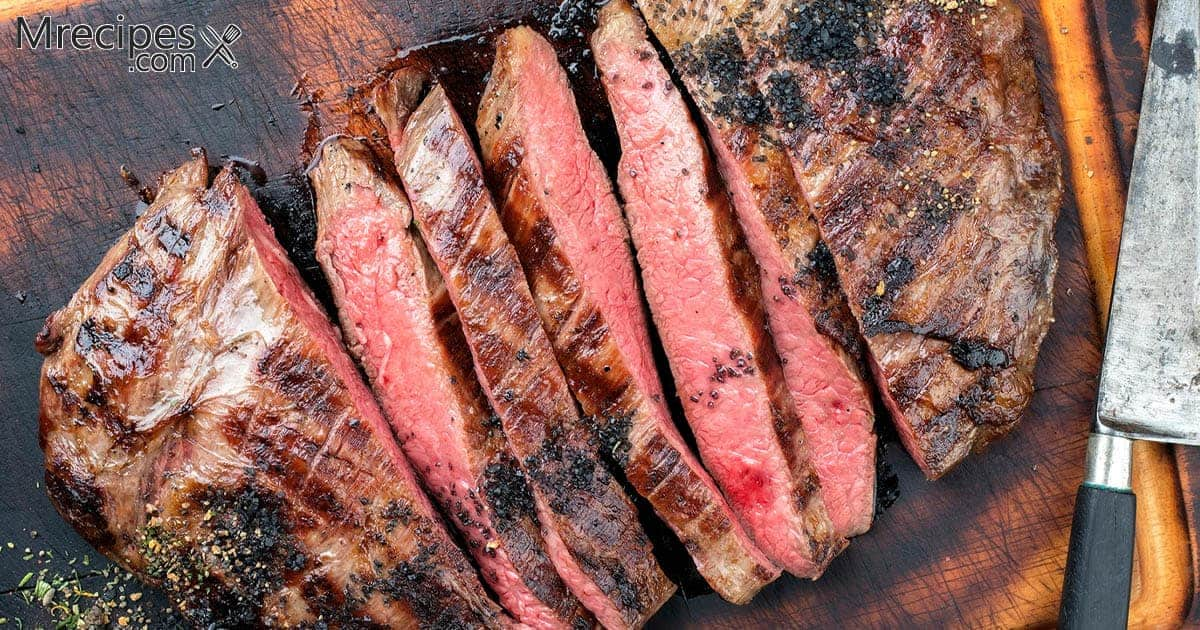 Smoked London Broil with Green Salad and Garlic Bread Recipe