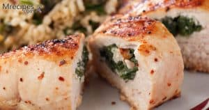 Smoked spinach stuffed chicken breast