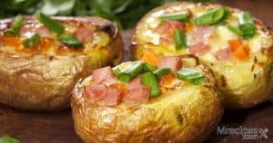 Twice smoked loaded potatoes with bacon and cheese