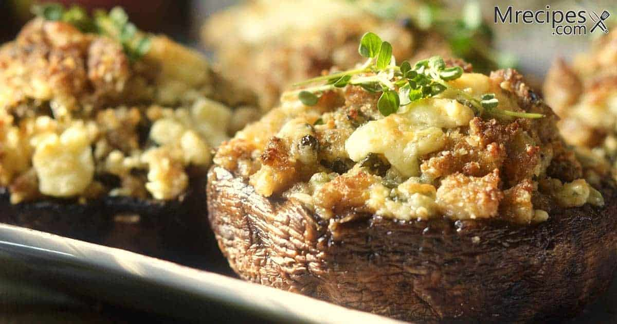 Smoked sausage and cheese stuffed mushrooms